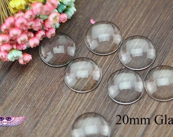Magnify Glass 20mm - Round Clear Glass Cabochons-Clear Glass Covers - Clear Glass 20mm - Pendant and Bezel Glass Top - Cabochon Glass 20mm