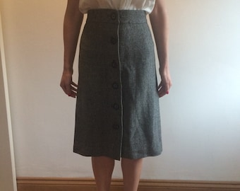 Button up micro check 1950s wool skirt