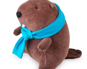 Organic Beaver Stuffed Animal with Scarf - Gnami the Beaver - Eco Friendly Plush Beaver