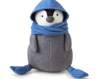 Organic Penguin Stuffed Animal: Fatbird the Penguin  with Socks and Hood, Eco Friendly Plush Penguin