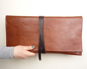 Oversized Leather Clutch / Brown Leather Clutch / Minimalist leather clutch / Brown Leathr Handbag / Leather clutch / For Her