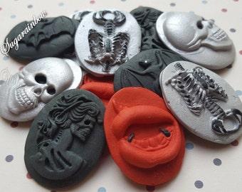 10 Edible sugar Halloween cake decorations skulls lady death skeleton bat lips cake  cupcake toppers decorations