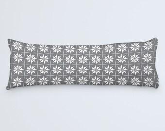 Grey Body Pillow, Grey White Large Pillow, Pattern Bed Pillow, Grey Long Pillow, 20x54 Pillow Cover, Body Pillow Case, Grey Cushion