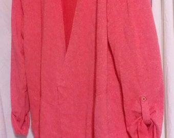 Coral Colored Fringe Hem Hoodie..Cotton...Adorable..Large