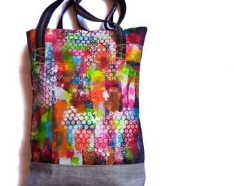 Handpainted denim bag- Art Bag- Original