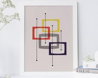 Mid Century Modern, Minimalist Geometric Art Print Abstract Shapes, Scandinavian Print, Modernist Design, Eames Style Design, 1960s Wall Art