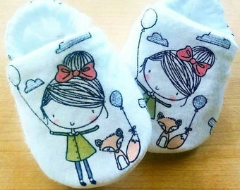 Little Girl and Pet Fox theme Baby shoes