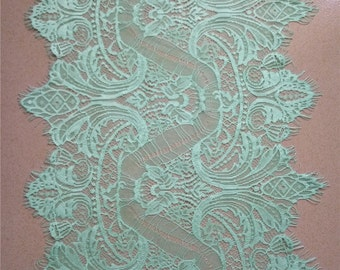 """Mint lace Table runner,  11"""" wide  , lace table runner,  wedding  table runners,  mint lace runner , Z001"""