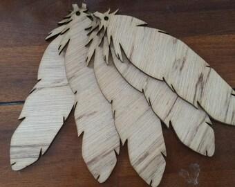 20 wooden feathers nursery garland