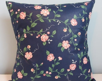 Cottage chic pillow cover, Waverly cottage roses, chintz pillow, vintage floral, navy blue & pink, cottage decor, decorator throw pillow.