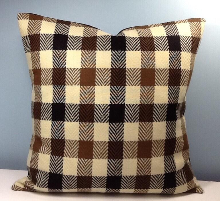 Brown Check Throw Pillows : Buffalo check pillow. Brown Tweed throw pillow cover.