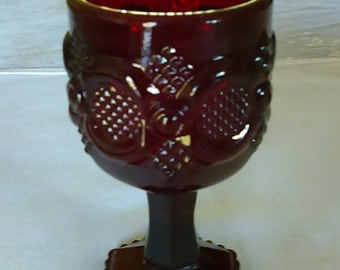 Red Amethyst Mini Wine Goblet/Candle Holder By Avon