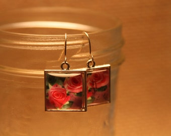 Silver Toned Earrings - Pink Roses