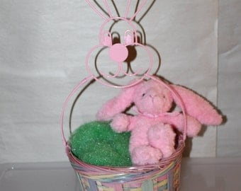 Easter Holiday Basket With Plush Bunny, Great Shape, Great Easter Gift, Party Gift, Easter Party Holiday, Children's Toy Basket With Bunny