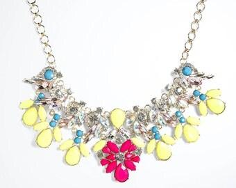 Neon Statement Necklace, fuchsia bib necklace, Crystal Statement Necklace, bridesmaid necklace, crystal necklace, rhinestone necklace