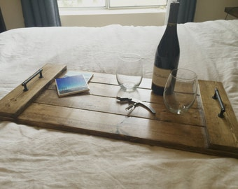 Rustic Wood Serving Tray - Laptop & Notebook Tray - Lapdesk -  Anniversary - Farmhouse Decor - Dorm Room