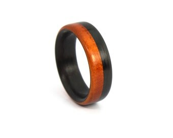 Wood Wedding Ring in Black Carbon Fiber and Chakte wood