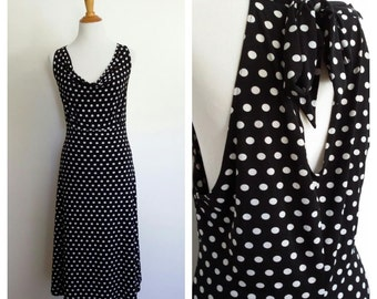 Polka dot dress, XL, low back dress, 80's dress, black and white dress, pin up dress, back dress, sleeveless dress