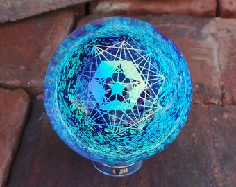 40mm Rainbow Sacred Geometry over Sky Blue Borosilicate Glass Lampworked Dichroic Marble
