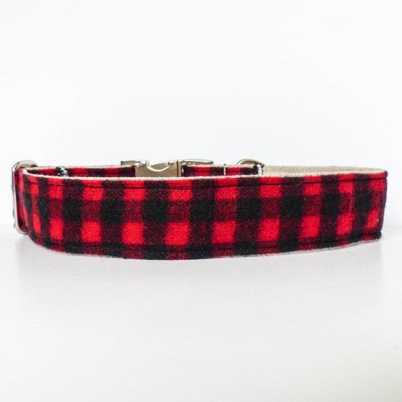 Dog Collar, Flannel Dog Collar, Winter, Holiday, Lodge, Rustic Dog ...