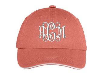 Ladies Sandwich Bill Cap - Monogrammed. Monogram Ladies Hat With Striped Closure.  Monogram Baseball Hat.  Baseball Cap. SM-LC830