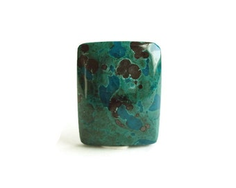 Chrysocolla Rectangle Cabochon, Green Turquoise Focal Gemstone 26 x 21 x 6.5 mm