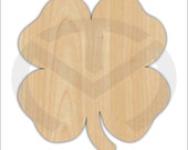 Unfinished Wood Lucky 4 Leaf Clover Laser Cutout, Wreath Accent, Door Hanger, Ready to Paint & Personalize, Various Sizes