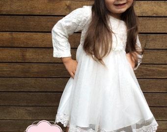 Flower Girl Dress. Girls White Dress. Special Occasion Dress. White Long Sleeve Dress. Naming Day Dress.