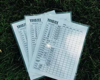 THREE 8.5x11 laminated yardzee score cards - reusable - scorecard - score sheet - yard game