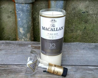 The Macallan Scotch 10 Year Recycled Liquor Bottle Scented Soy Candle