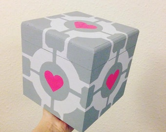 Portal 2 Companion Cube hand painted geek treasure chest jewellery storage box
