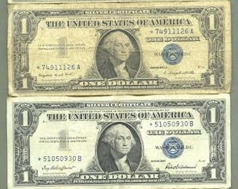 14 One Dollar Blue Seal Green Seal STAR Notes in circulated condition Silver Certificate FRN