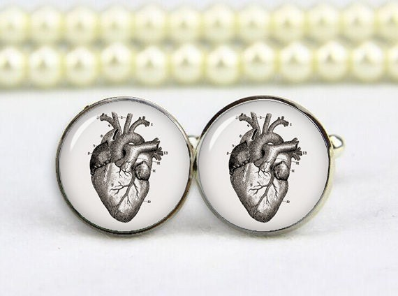 vintage heart anatomy cuff links, cardiac anatomic structure ...