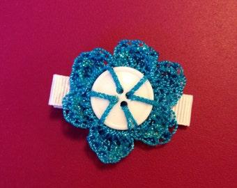 Crochet button flower on ribbon lined alligator hair clip