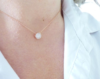 Delicate Rose Gold CZ Circle Necklace, Tiny Diamond Necklace, Dainty Crystal Necklace, Simple Modern Jewelry, Thin Minimal Everyday Choker
