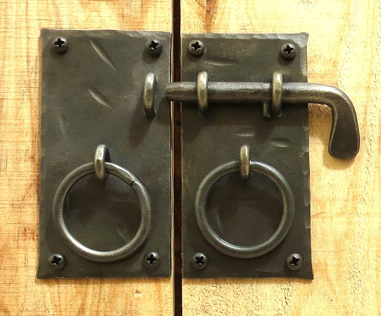$14.49 - Square Cabinet Door Latch Pull Rings Slide Bolt Hand Forged Metal