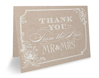 Rustic Wedding Thank You Notes Country Wedding Stationery (Pack of 50)