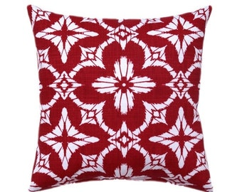 Red OUTDOOR Pillow Cover - Red Floral Pillow Cover - Outdoor Pillow Cover In Apple Red and White - Hidden Zipper Outdoor Pillow Throw Pillow