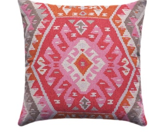 Pink Tribal Pillow Cover //  Pink Pillow Covers // Pink Orange Grey Cushion Covers //Tribal Cushion Cover // Zippered Throw Pillow Covers