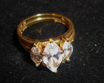 Engagement Ring, Gold Ring, Vintage CZ Ring, Wedding Ring, Vintage Wedding, Bridal Set, Vintage Ring, Gift, Gold Jewelry, Three Stone Ring