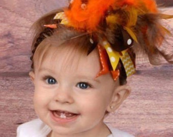 Baby girl Thanksgiving headband - Thanksgiving over the top headband - Thankgiving hair bow - baby hair bow