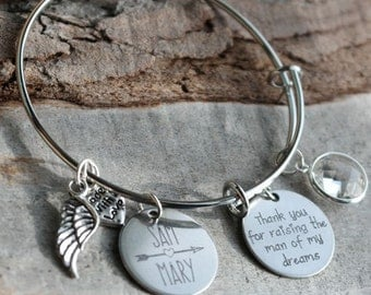 Mother of the Groom Thank You Personalized Adjustable Wire Bangle Bracelet