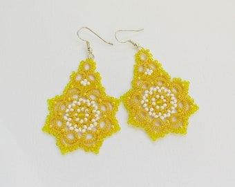 Yellow earrings, tatted earrings, tatting jewellery, tatting lace earrings,  summer earrings, dangle earrings