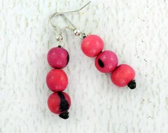 Hot Pink Earrings - Fair Trade Earrings - Tropical Earrings - Hippie Earrings - Acai Beads - Simple Earrings - Good Presents for Mom 3130