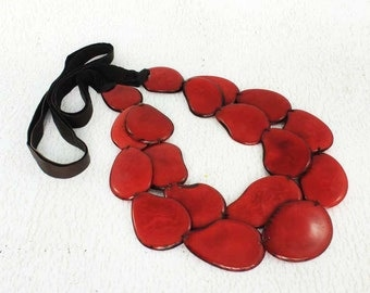Red Necklace - Statement Necklace of Tagua - Chunky Necklace - Fair Trade - Bib Necklace - Womens Gifts - Red Jewelry for Women 1120
