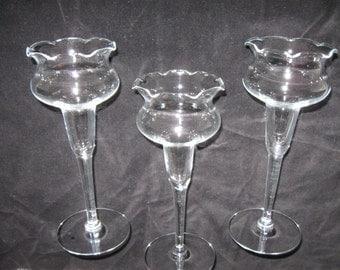 Vintage Glass Bud Vase Ruffled Rim Footed Clear Glass Vase
