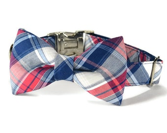 Americana Plaid Bow Tie Dog Collar, Dog Bow Tie Collar, Preppy Dog Collar, Plaid Bow Tie, Plaid Dog Collar, Bow Tie Collar