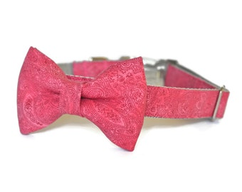 Red Coral Bow Tie Dog Collar, Dog Collar With Bow Tie, Bowtie Dog Collar, Coral Bow Tie Collar, Dog Bow Tie Collar, With Metal Hardware