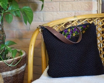Shoulder bag - handmade hemp and leather