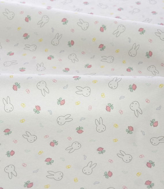 Items similar to cute baby knit fabric rabbit and rose for Cute baby fabric